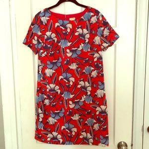 J. Crew Factory shift dress, red blue floral, 6